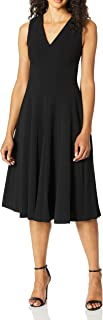 Women's Sleeveless A-Line Dress with V Neckline