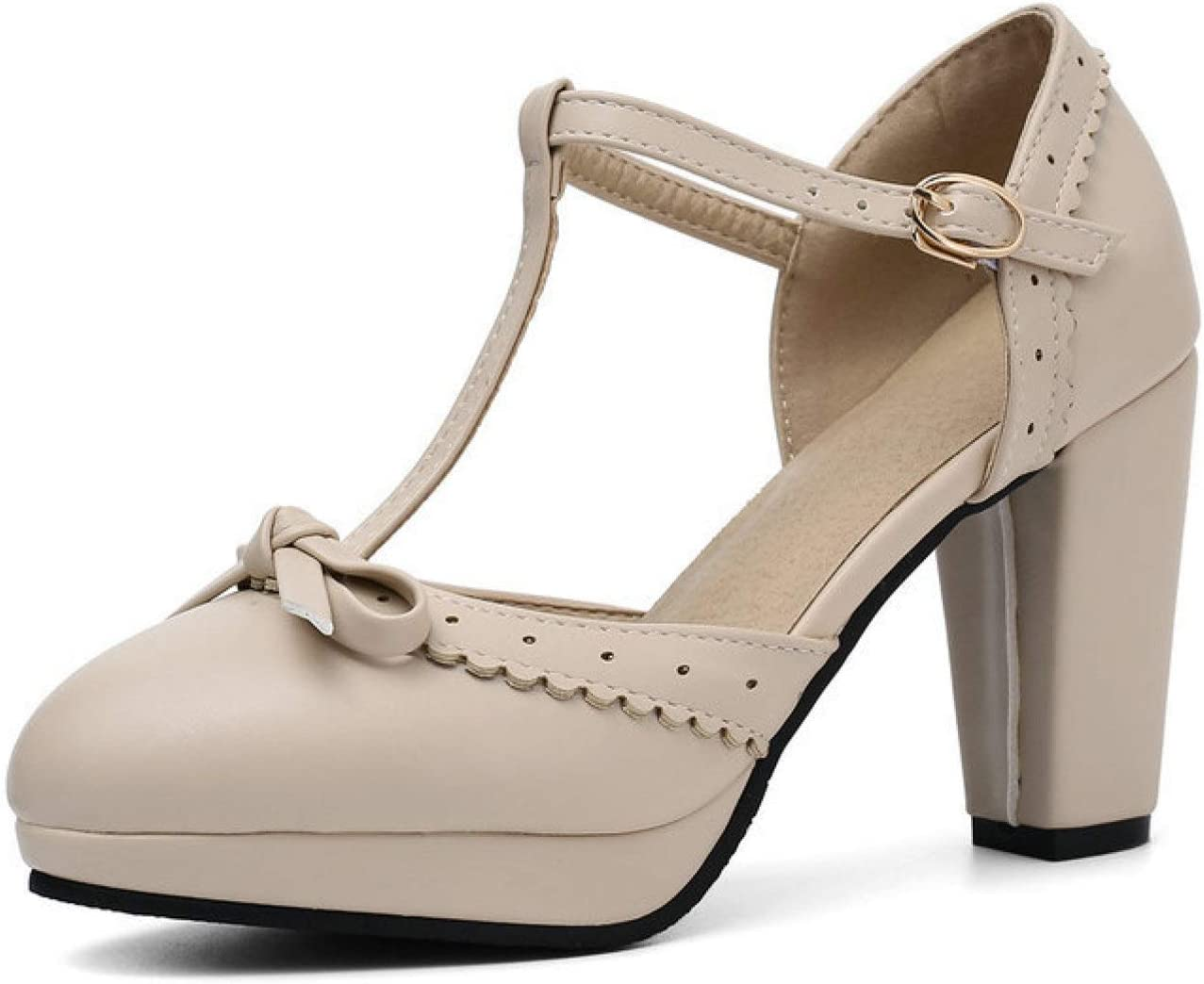 FMTZZY High Heels for Women Women's Genuine Virginia Beach Mall Free Shipping Mary Heel Chunky P Jane