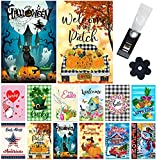 Yileqi Seasonal Garden Flags Set of 12 Double Sided Halloween Fall Garden Flag, Small Yard Flag for Holiday Outdoor Decorations 12.5x18 Inch, with Free Anti-Wind Clip and Stopper