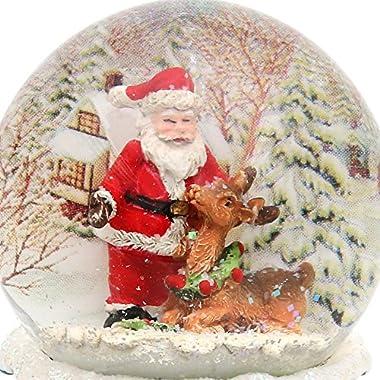 Boule de neige, Santa, dimensions H/l/Ø boule: environ8,5x 7cm/ø 6,5cm. Renne