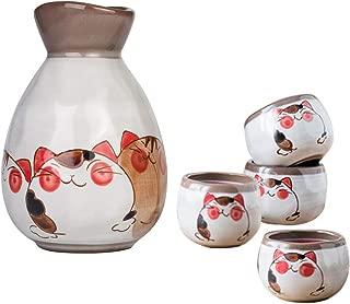 LTLWSH Juego de Sake de 5 Piezas de Gres, Conjunto Tradicional Japonés con 1 Botella de Sake y 4 Sake Cups de Cerámica, Estilo Japonés, Mejor Regalo de Cumpleaños, Navidad, San Valentín