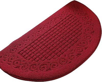 Loghot Polypropylene Half Round Pure Color Doormat Non Slip Semicircle Door Mat for Bedroom Toilet Kitchen Entryway (Large, Dark Red)