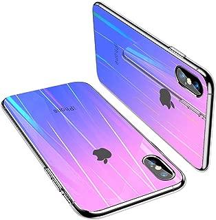 iPhone XS ケース/iPhone X ケース 耐衝撃 ガラス背面 クリア TPU ラップホール付き 硬度9H強化ガラス 三重構造 カメラ保護 高級感 黄変防止 オシャレ ワイヤレス充電 衝撃吸収 取り付けやすい スリム・薄型 ガラス面へのスクラッチ防止 携帯カバー ピンク・パープル Q17-XS-FZ