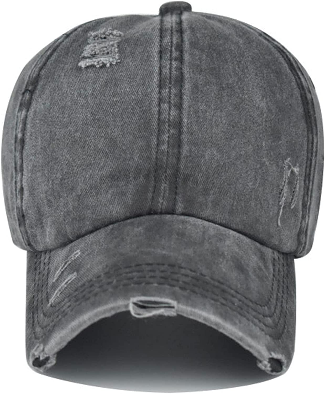 OAKSTOY Criss-Cross Ponytail Hat Baseball Cap Adjustable Washed Vintage Distressed Cotton Cowboy Sun Hat Black