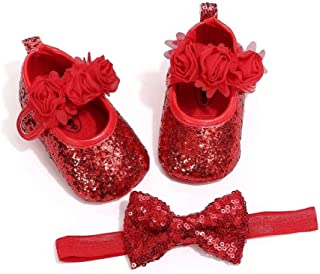 THE LONDON STORE Baby Girl's First Walker Toddler Sequined Infant Soft Sole Shoes