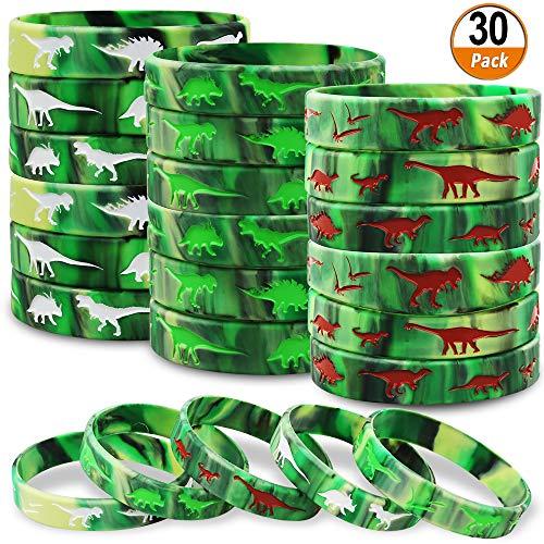 Braccialetti in silicone per dinosauri Confezione da 30 dinosauri Forniture per feste giurassiche per dinosauri Festa a tema Festa di compleanno Bomboniere Borse da regalo Stuffers - 3 colori