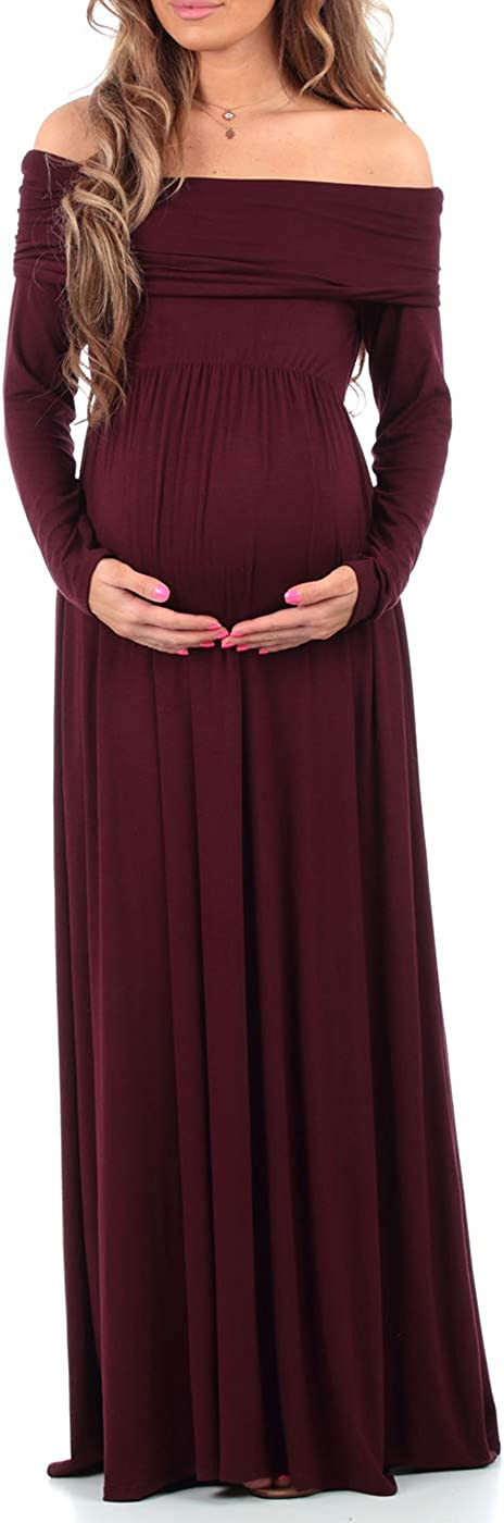 Mother Bee Maternity Cowl Neck Over The Shoulder Maternity Dress for Baby Shower or Casual Wear at  Women's Clothing store