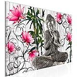 Runa Art Buddha Blumen Bild Wandbilder Wohnzimmer XXL Grau