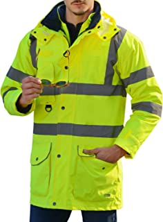 Holulo Reflective Jacket 7 in 1 Yellow Waterproof Reflective Class 3 Safety Parka Jacket with Zipper and Pockets Size XXL
