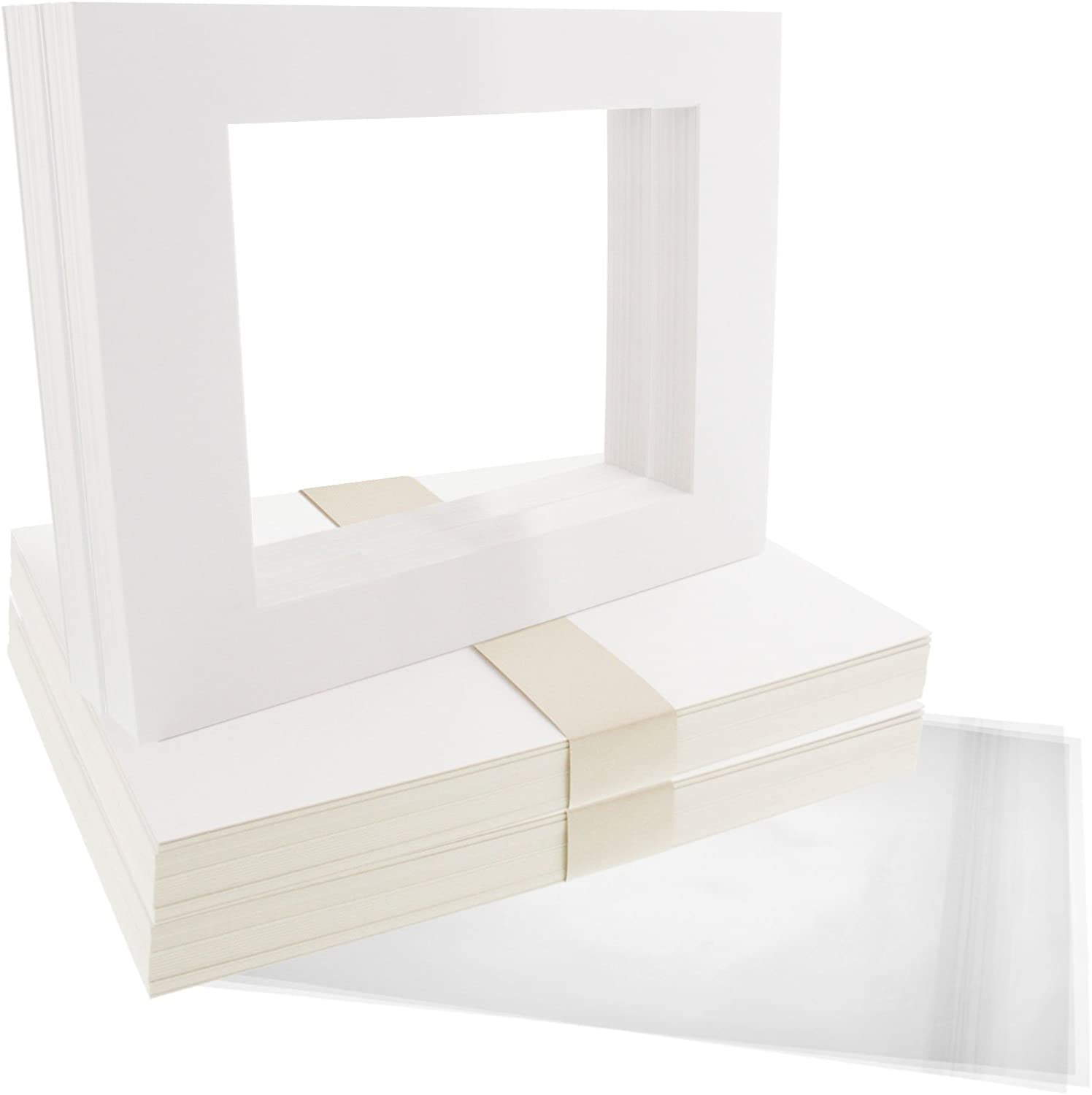US Art Supply Art Mats Acid-Free Pre-Cut 11x14 White Picture Mat Matte Sets. Includes a Pack of 50 White Core Bevel Cut Mattes for 8x10 Photos, Pack of 50 Backers & 50 Clear Sleeve Bags