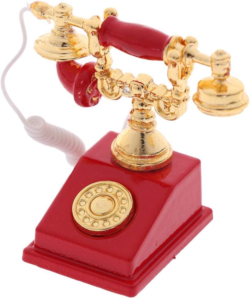 Dollhouse Popular Jacksonville Mall 1 12 Vintage Miniature Model Phone Telephone De Rotary