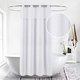 LeDeHome Extra Long 71x 86 Hookless White Waffle Fabric Shower Curtain for Bathroom with Removable Polyester Liner and Flitering Mesh Window
