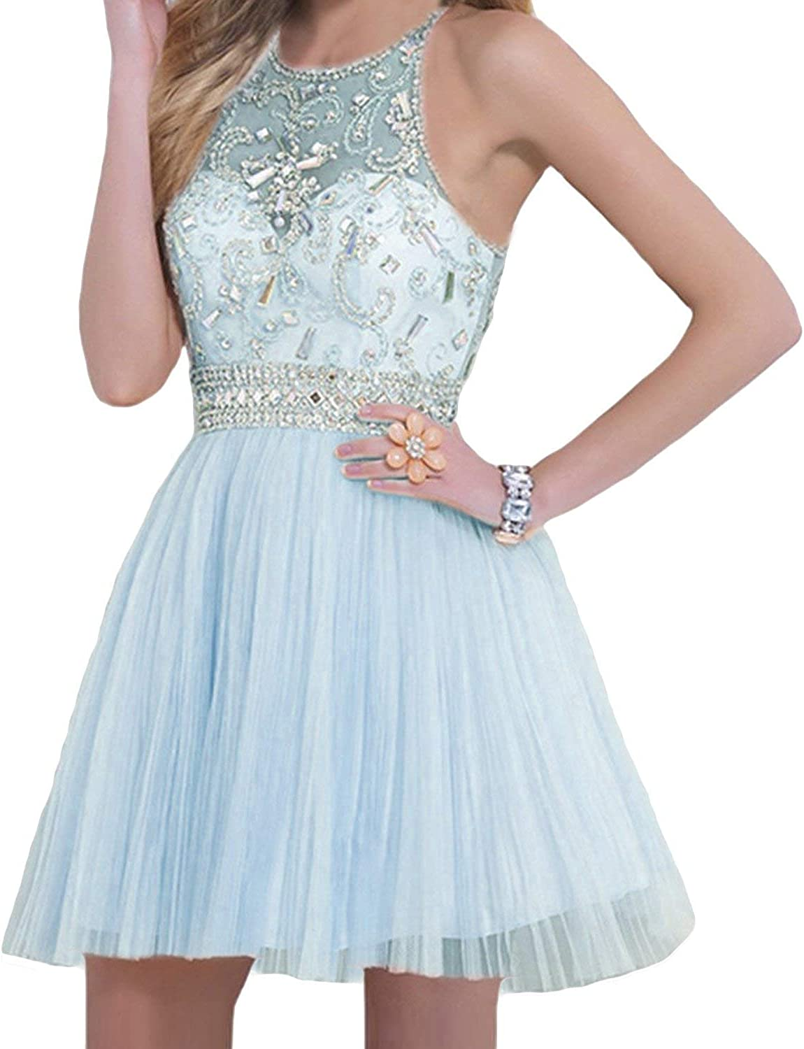 CharmingBridal Round Neck Beaded Juniors Graduation Short Prom Homecoming Dress