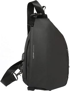 ボディバッグ ワンショルダー 斜めがけ 防水 USB充電ポート 容量拡張可能 盗難防止 メンズ ブラック