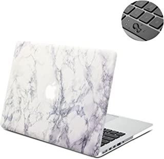 Macbook Retina 15 Case, Topinno Hard Shell Print Frosted Case & Keyboard Cover for Macbook Retina 15 Without CD Rom (Model: A1398) - White Marble Rubber Coated Cover