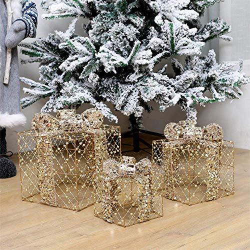 LIPETLI 3 Piezas de Cajas de Regalo Decorativas con Luces led, Cajas Preiluminadas para Decoraciones NavideñAs, Decoraciones para Escenas de Tiendas