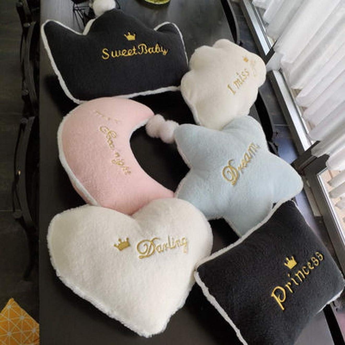 イサカ一方、キャンプスターハートクラウンクラウドスローピロークッション、子供部屋の装飾、北欧の家の装飾枕ヘッドレスト、クッションチェアソファウエストネック枕 (Color : ピンク, Size : Crown56x36cm)