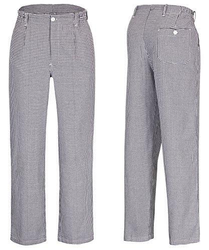 DESERMO Premium Kochhose Damen aus 100% Baumwolle | Bequeme Kochhosen Frauen mit 3 Taschen & Reißverschluss | Hochwertige Bäckerhose mit einem Stoffgewicht: 240g/m² (M)