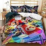 Satauly Super Mario Bedding Set Queen Size Mario Kart Duvet Cover Sets Boys Girls Kids Comforter Sets 3 Pieces 3D Cartoon Mario Bed Sets 1 Duvet Cover 2 Pillowcase