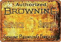 2個 8 x 12 CM メタル サイン - 認定ブラウニング サービス ステーション メタルプレート レトロ アメリカン ブリキ 看板