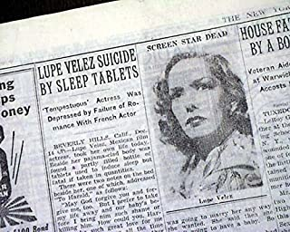 LUPE VELEZ Mexican Film Actress SUICIDE Death - WWII 1944 World War II Newspaper THE NEW YORK TIMES, December 15, 1944