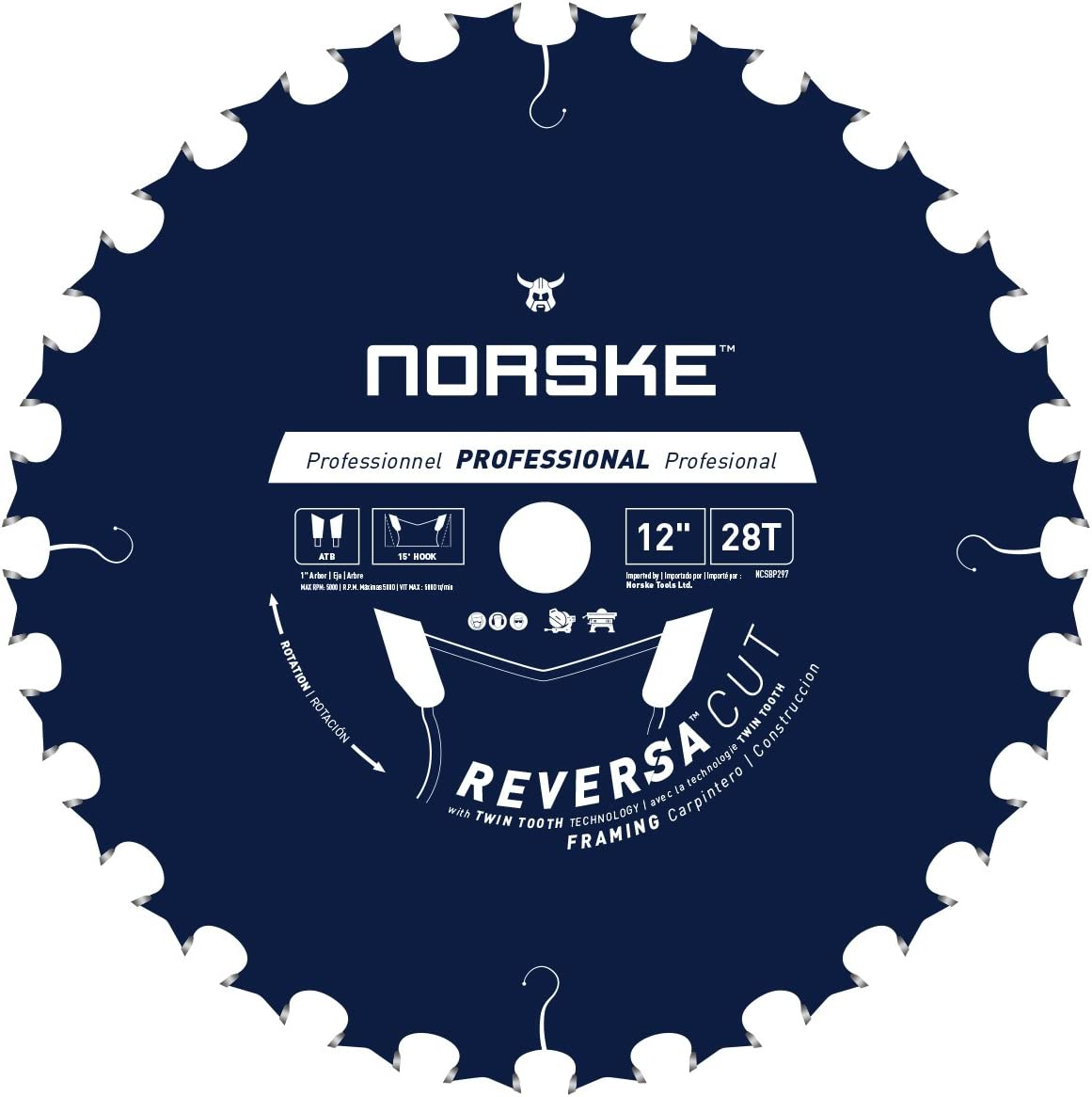 Norske Tools NCSBP297 discount 12 inch x Saw Cut Reversa NEW before selling ☆ Blad Framing 28T