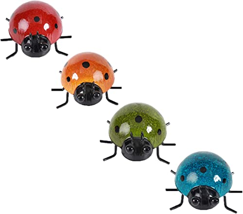high quality OPTIMISTIC new arrival Cute Metal Ladybug Decorative Garden Wall Art Ladybugs for Backyard Garden Lawn Porch Colorful online Hanging Decoration Outdoor Indoor Wall Decor Beetle Ornaments Set of 4 outlet sale