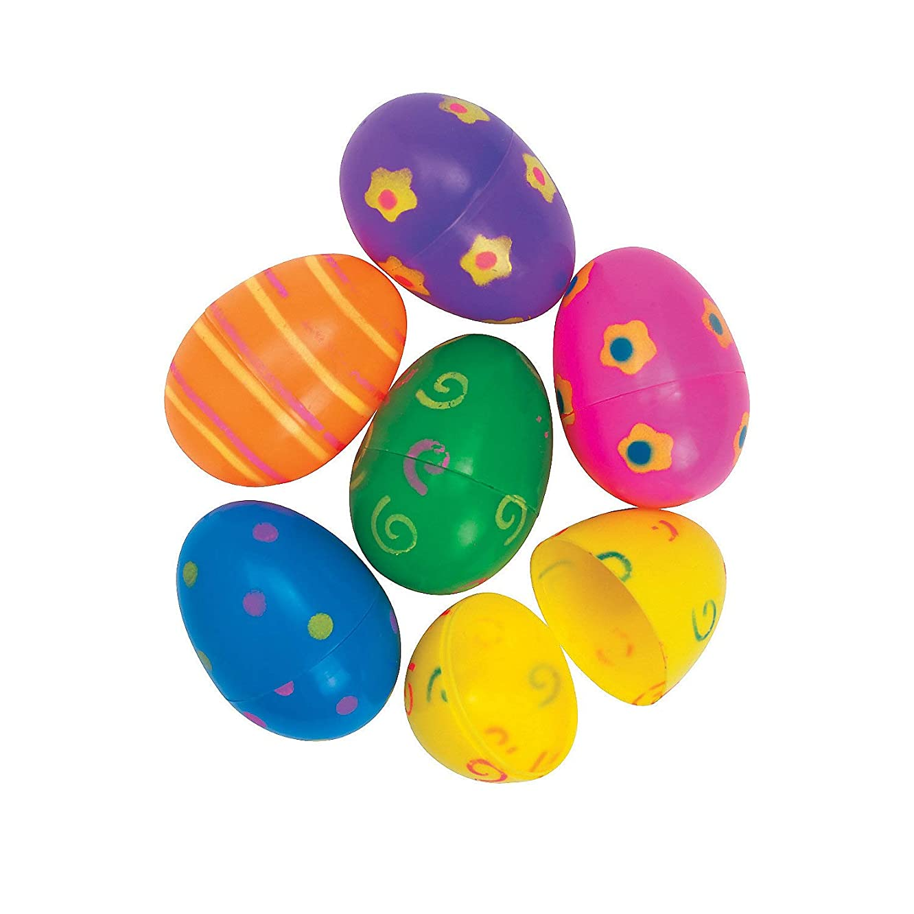 Fun Express - Plastic Jumbo Bright Printed Easter Eggs for Easter - Party Supplies - Containers & Boxes - Plastic Containers - Easter - 12 Pieces