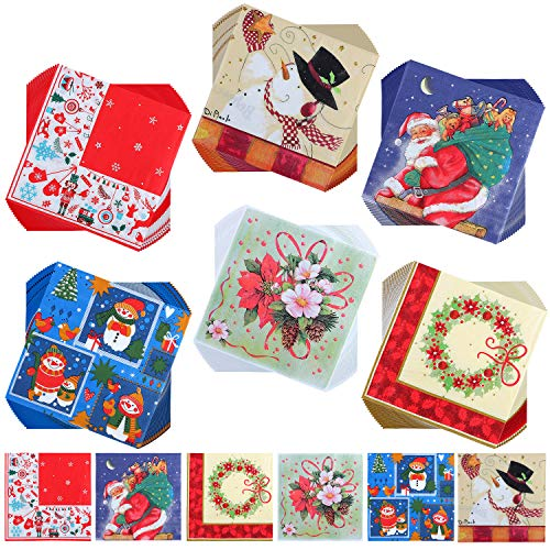 Aneco 120 Pieces Christmas Pattern Disposable Cocktail Paper Napkins Beverage Napkins 2 Ply for Christmas Holidays Dinner Party Supplies, 6 Styles