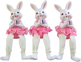Pastel Pink Ballerina Easter Bunny Shelf Sitter Figurines, Set of 3, 6 1/2 Inches
