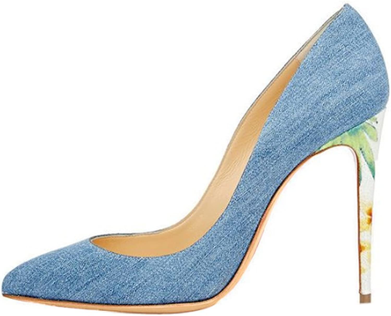 UMEXI Women's Pointed Toe Jeans bluee Sexy Slip-on Stiletto High Heel Pumps for Party