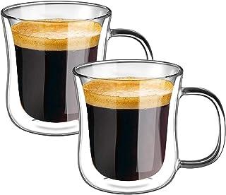 Ecooe 120ml*2 Tasse Verre Double Paroi Ensemble,Tasses à Expresso en Verre Transparent, Verre à Café avec Poignée