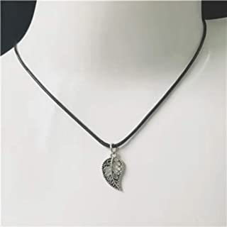 New Hollow Leaf Pendant Plant Charm Black Necklace Silver Chain Women Jewelry