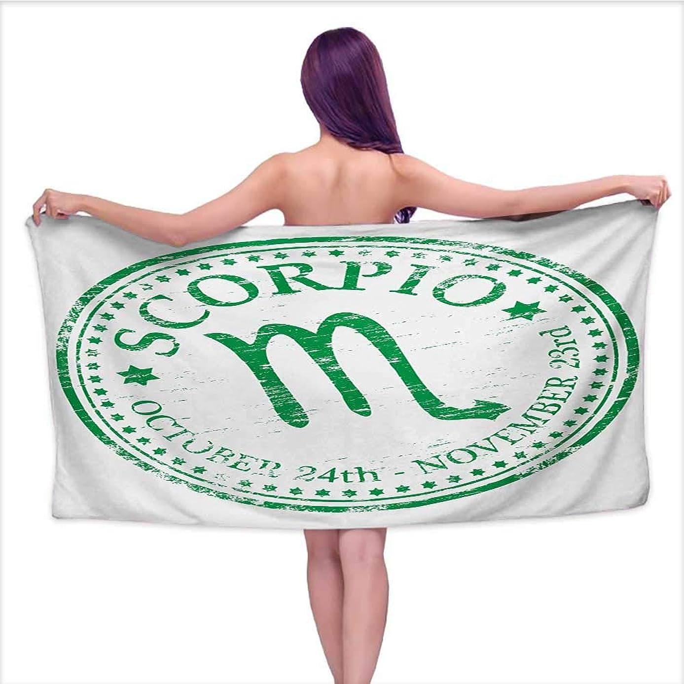 Bensonsve Bath Towel mat Zodiac Scorpio,Retro Zodiac Rubber Stamp Design with Grunge Look Stars and Dates,Fern Green and White,W10 xL39 for Beach