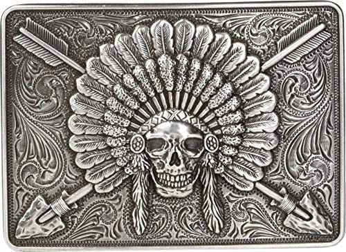 Ariat Rectangle Chief Skull Buckle Antique Silver One Size