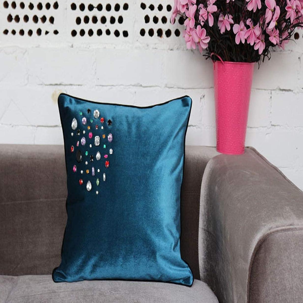 階下しなければならない一族方朝日スポーツ用品店 枕の高級Velveteen縁取りクッション車の使用ソファの装飾のクッションは、自宅で適用される (Color : ブルー, サイズ : 30*50CM)