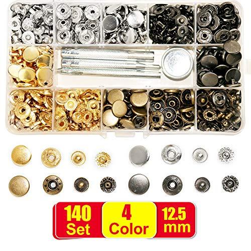 SUNTATOP 140 - Cierres metálicos Ajustables de 2,5 mm, 4 Colores, Botones de presión de Metal con 4 Herramientas de fijación para Coser y Hacer Manualidades de Ropa (4 colores-140set)