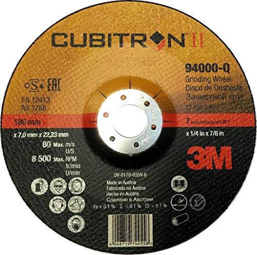 3M™ Cubitron™ II Schruppscheibe 2. Generation, 180 mm, 7,0 mm, 22,23 mm, 36+, Typ 27, 10 Stück /Karton