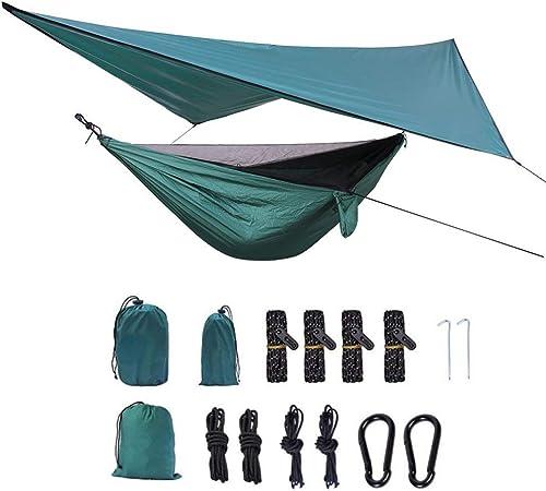 ZHANGZHIYUA Hamaca de Camping   El Paquete Incluye mosquitera, Mosca de Lluvia, Correas de árboles y Saco de compresión, Acampar en hamacas