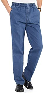 Mens Jeans Elastic Waist Relaxed Fit Straight Leg Jeans Casual Pants
