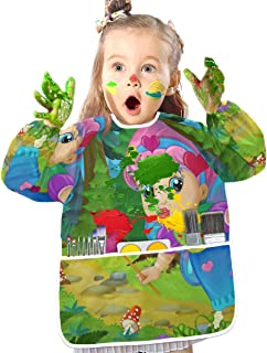 Tarity Flying Fairy Forest Kids Art Smock Waterproof Children Artist Painting Aprons Toddlers Babies Nursery Aprons with Long Sleeve and 3 Roomy Pockets Bib for Drawing Eating Playing