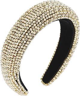 Rhinestone Padded Headband for Women Rhinestones Embellished Wide Velvet Baroque Hairband Goth Races Wedding Crystal Headp...