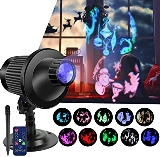 Christmas LED Light Projector, 3D Rotation Effect with RGBW Patterns Landscape Lights Waterproof Indoor Outdoor Rotating Stage Spotlight Decoration Projector for Xmas Holiday Party