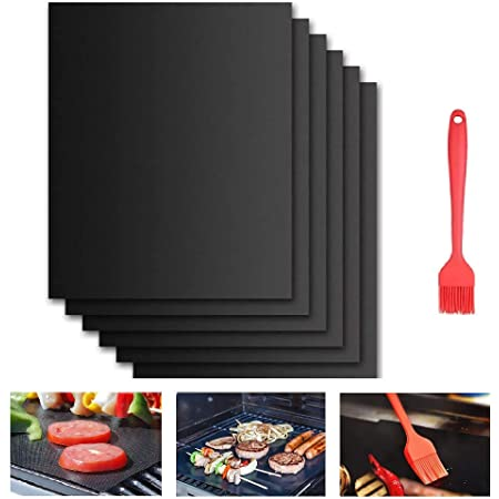 Beshine BBQ Grill Mat, 6-Pack Non-Stick Barbecue Baking Mats for Charcoal, Gas or Electric Grill, Heat-Resistant & Reusable & Multipurpose with Silicone Brush