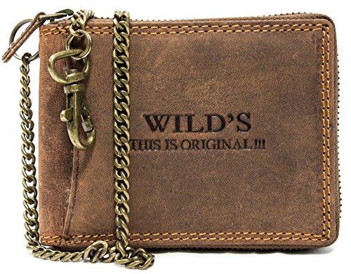 Bikerbörse Herren Portemonnaie mit Kette aus Leder Geldbörse Geldbeutel mit Sicherheitskette 50cm in Querformat Dunkelbraun 5165C