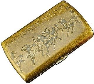 LBLMSB Cigarette Case, Copper 12-Pack Cigarette Box, Metal Steel Clip Cigarette Box, Eight Horses (Color : Gold)