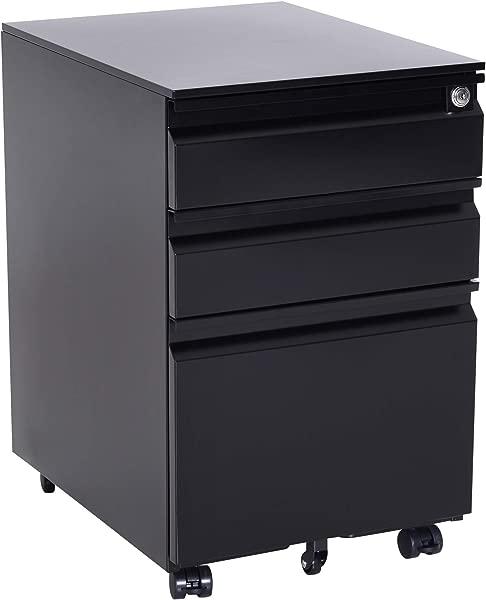HOMCOM 24 Steel 3 Drawer Locking File Cabinet On Wheels Black