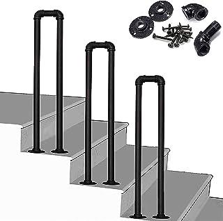 SACKDERTY Poręcz do schodów zewnętrznych 3 szt. Antypoślizgowe poręcze Matowa czarna ocynkowana rura w kształcie litery U ...