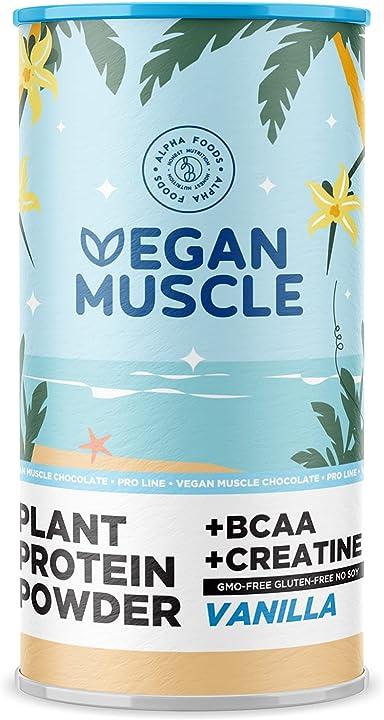 Proteine vegan muscoli - vaniglia arricchite con bcaa e creatina - 600 g in polvere by alpha foods AF-111