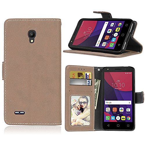 SATURCASE Alcatel One Touch Go Play/Conquest Hülle, Retro Mattiert PU Leder Magnetverschluss Brieftasche Standfunktion Schutzhülle Handy Tasche Hülle für Alcatel One Touch Go Play/Conquest (Beige)